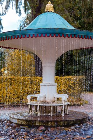 PETERHOF, RUSSIA - OCTOBER 16: The Umbrella fountain cracker in Peterhof, Russia, October 16, 2016 in Peterhof, Russia. Former residence of the Russian monarchs.