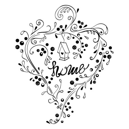 homely: Home decorative hand lettering with wreath. Illustration