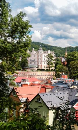 Panoramic view of Karlovy Vary Stock Photo