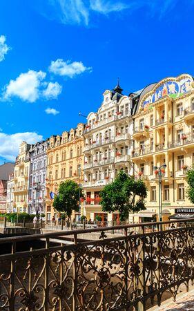 KARLOVY VARY, CZECH REPUBLIC - JULY 23, 2017: Romantic architecture of Bohemia, Karlovy Vary, Czech Republic. the famous spa city in the Czech Republic Editorial