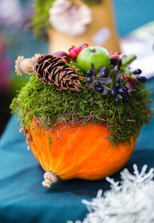 desk: Floral autumn arrangement of pumpkins