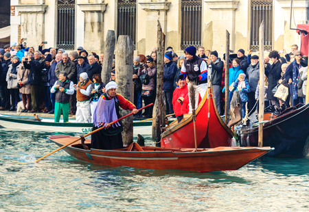VENICE, ITALY - 06 JANUARY, 2018: The Befana Regatta On The Grand Canal, Venice, Italy
