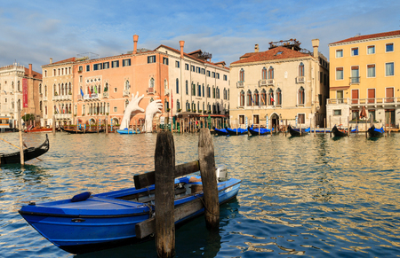 VENICE, ITALY - JANUARY 05, 2018: Sculpture: Monumental Gigantic hands rise from water to support the building. This powerful report on the climate change from the artist Lorenzo Quinn Editorial