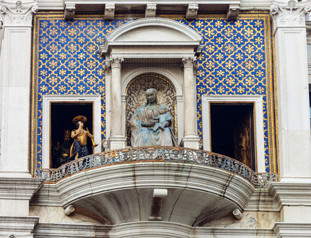 VENICE, ITALY - JANUARY 06, 2018: Clock Tower in Piazza San Marco on Epiphany, Venice, Italy