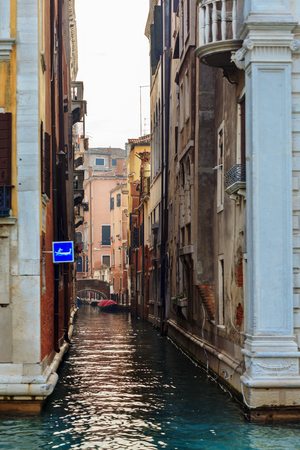 VENICE, ITALY - JANUARY 06, 2018: Typical narrow water canal in Venice during winter days, Venice, Italy Editoriali