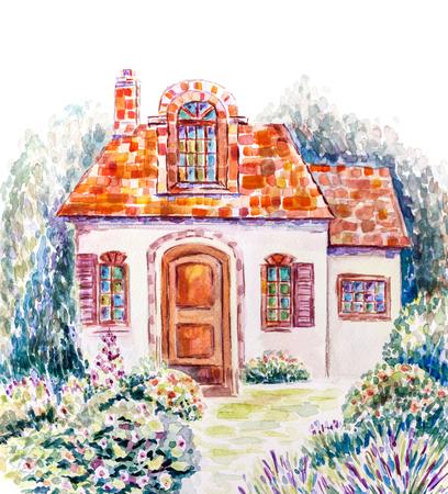 Cozy house in flowering garden