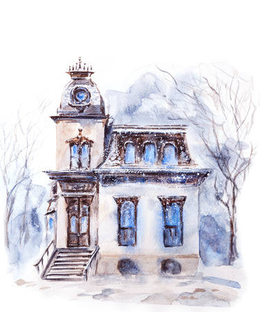 House in the Winter. Watercolor illustration. Stock Photo