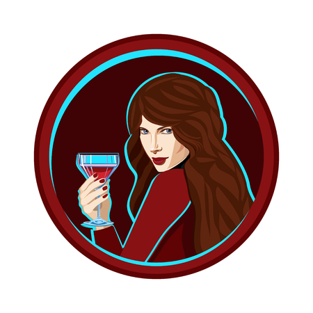 Girl  with a glass of cocktail. Illustration