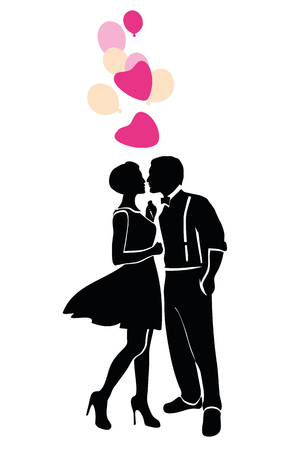Romantic young couple silhouette  vector illustration