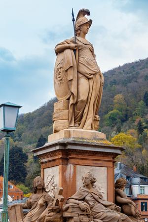 Statue of Minerva on the Old Bridge  Heidelberg, Germany. Stockfoto