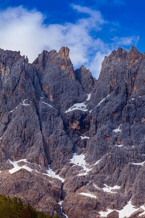 The Pale of San Martino group summer view from San Martino di Castrozza, Dolomites. Italy
