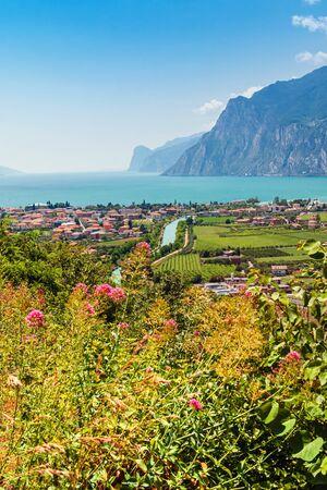 Aerial city view, Nago-Torbole, Garda lake, Italy