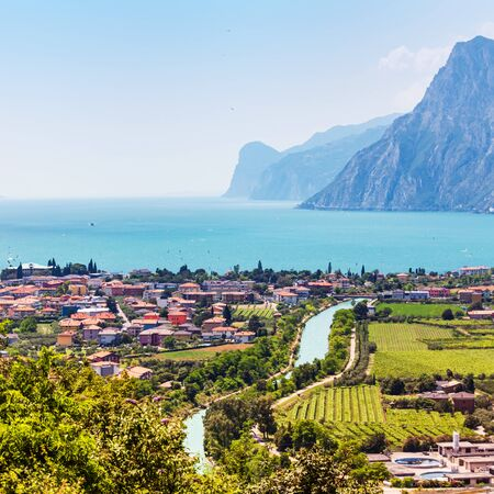 Aerial city view, Nago-Torbole, Garda lake, Italy
