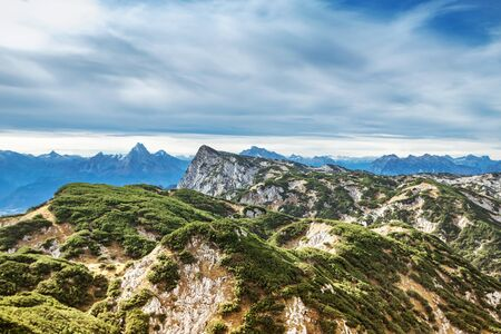 Areal view from hillside at the magnificent Untersberg mountain near Salzburg, Austria
