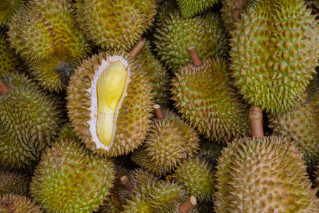 Durian: Group of durian in the market.