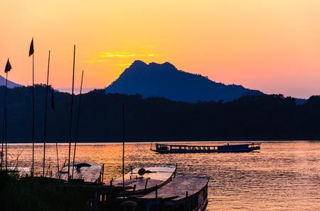 laotian: Sunset at Mekong river in Luang prabang,Laos. Stock Photo