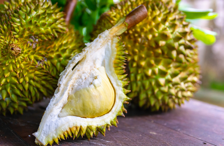 Durian riped and fresh ,durian peel with yellow colour on wooden table.