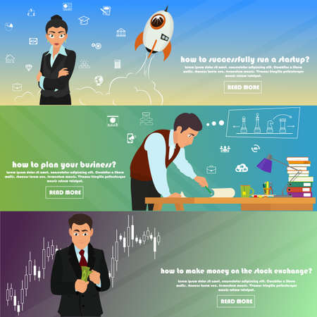 make an investment: horizontal banners on the theme: business, investment, start-up, management, start-up projects, strategy and planning, forex, exchange, make money. vector illustration.