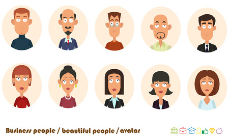 avatars business people. vector illustration. 向量圖像