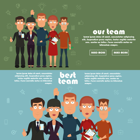 our people: Teamwork and business team, our team business, office team, business success, work people, company and leadership, businessman and worker. two horizontal banner on the team. vector illustration. Illustration