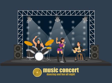 grupo de música pop rock escena de concierto profesional. Grupo de jóvenes creativos que tocan los instrumentos rendimiento impresionante. ilustración vectorial