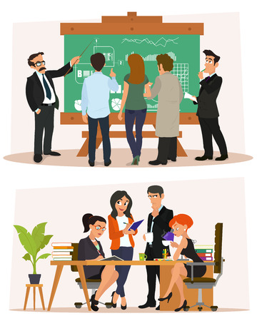 Business characters scene. business meeting in the office. study and discussion of ideas. vector illustration.
