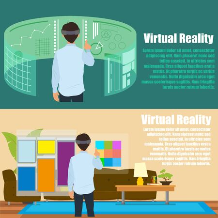 computer simulation: Virtual reality. New technologies and on line shopping. Mobile and computer systems. Devices. Vector flat illustration