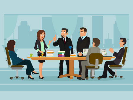 discussing: Business People Meeting Discussing Office Desk Businesspeople Working Flat Vector Illustration Illustration