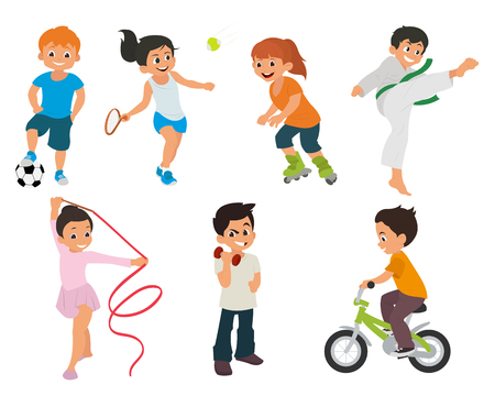 sports kids are actively involved in sports. sports kids are doing in different kinds of sports: karate, roller skates, gymnastics, tennis, fitness, soccer, cycling, weightlifting.  illustration Ilustração