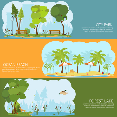 horizontal banners on the theme of landscapes of nature. Forest Lake. ocean shore. City Park. shore of a tropical island. swamp forest.