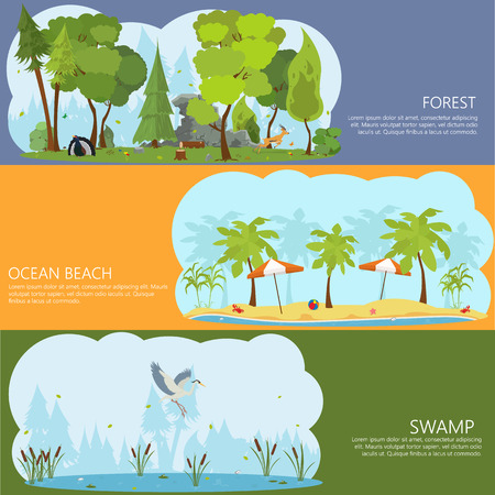 lake shore: horizontal banners on the theme of landscapes of nature. Forest Lake. ocean shore. City Park. shore of a tropical island. swamp forest.