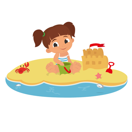 cute little girl playing with sand on tropical beach.