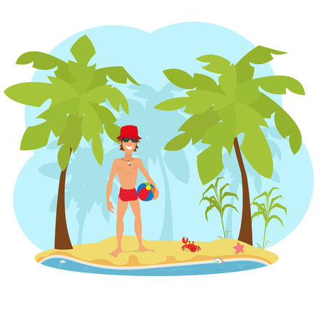 shirtless: Portrait of an attractive young man on a tropical beach. handsome muscular man standing on the beach. Illustration