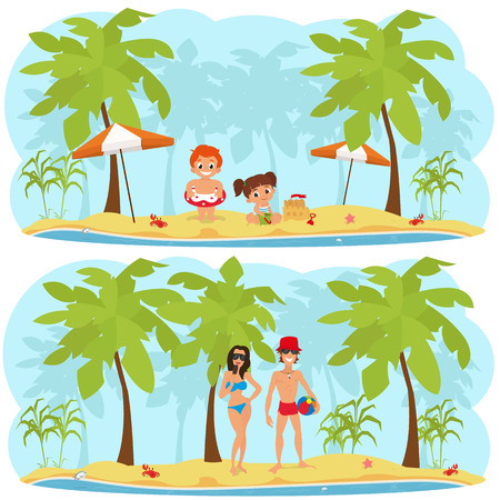 people relaxing: horizontal isolated illustration with people relaxing on the beach of a tropical island. children on the beach building a sand castle. Valentine couple relaxing on the beach.