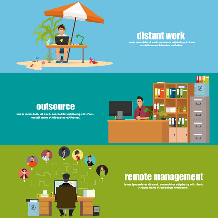 outsource: horizontal banner: remote operation, remote management and outsource. illustration in a flat style.