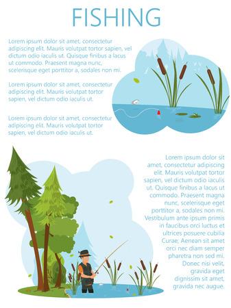 waders: un hombre en botas de peces en el estanque. un hombre de los peces en el estanque en el cebo. vector Vectores