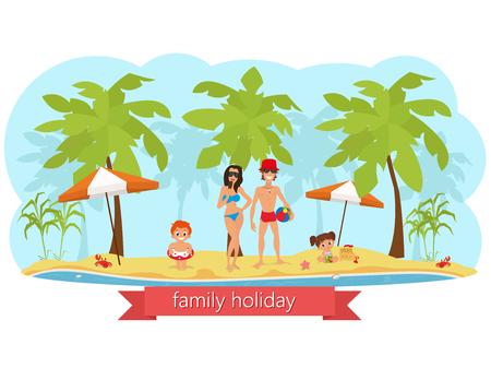 enfant maillot de bain: famille heureuse sur la plage. papa maman fils et sa fille. vecteur