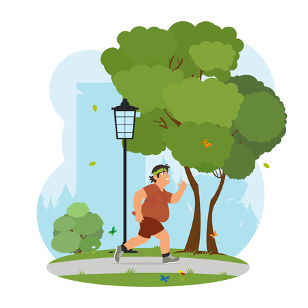 jogging park: Fat man feeling tired to jogging in park. obese man running in the park and sweating to lose weight. vector