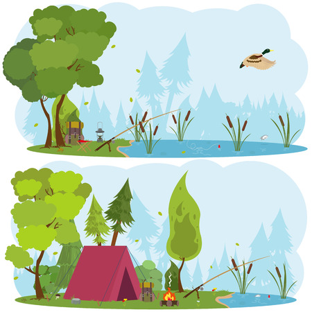 Summer landscapes: tent and fire in mountains background, forest. Hiking and camping. Rest on the lake or river. Vector flat illustration