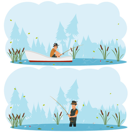 wade: two separate images on the theme of fishing. man fishing while standing in the water and out of the boat. vector