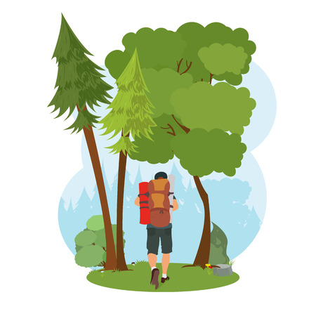 man goes hiking in the woods. isolated nature scene. vector Иллюстрация