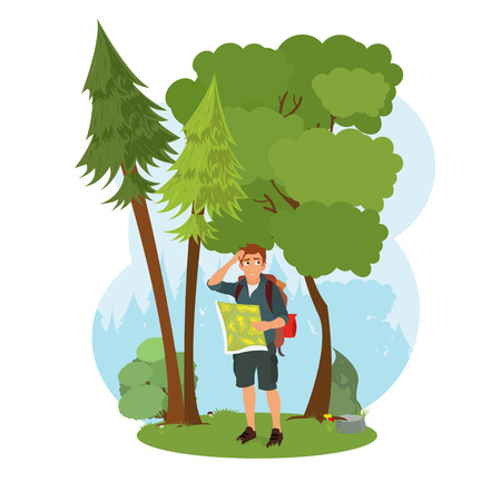 Hiker man tourist. Hiking. Vector isolated scene