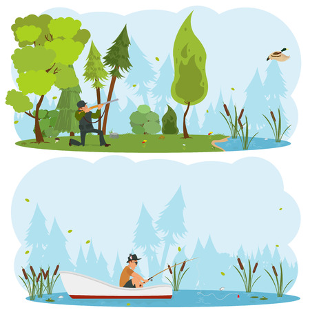sniper: Vector isolated scenes of nature. Men hunt and fish in the wild.