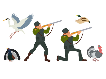 gunner: Vector isolated image of the hunter with a gun and birds. wild birds which are hunted. Illustration
