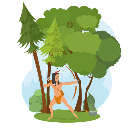 American Indian in the woods hunting. Indian hunts with a bow. young man aiming a bow. vector Stock Vector - 62620322