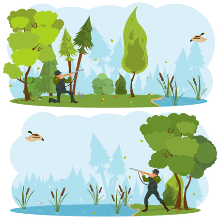 wildlife shooting: Vector isolated scenes of nature. hunter with a gun on a duck hunt. vector