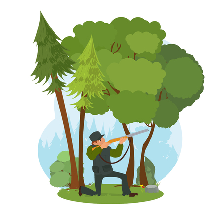 rifleman: Hunter aiming a rifle in the woods. scene of nature and man with a gun. vector Illustration