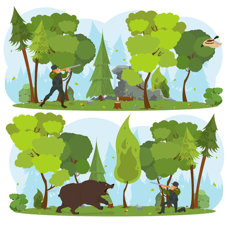 man hunt for a duck in the forest. hunter shoots a bear. vector