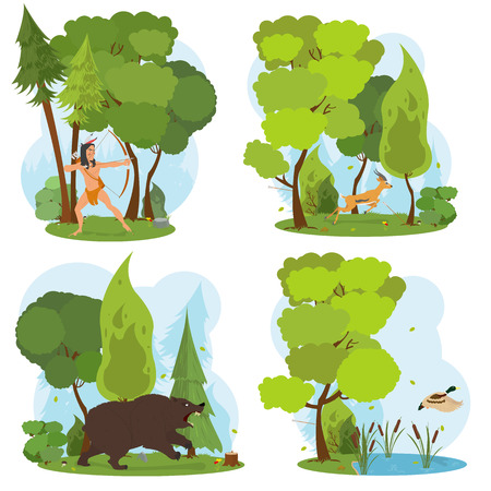American Indian in the woods hunting. Indian hunts with a bow. nature scenes. duck flies up from the lake. angry bear in the woods. deer running fast through the trees. vector. Illustration