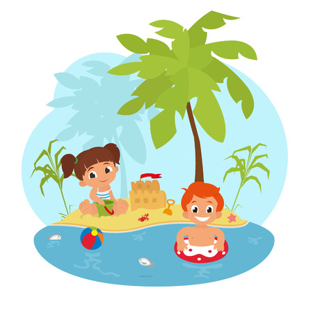 Happy children on the beach. children on the beach building a sand castle and swimming in the sea. vector
